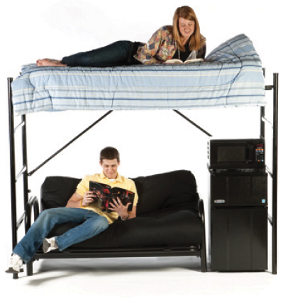 get a futon designed to fit under our lofts here open space concepts   loft bed rentals at northern kentucky university  rh   openspaceconcepts